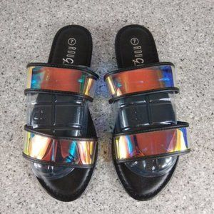 Iridescent Black Strap Slide Sandals